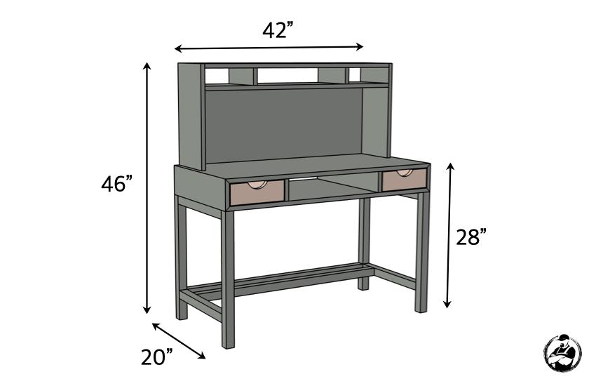 DIY Kids Desk with Hutch Plans Dimensions