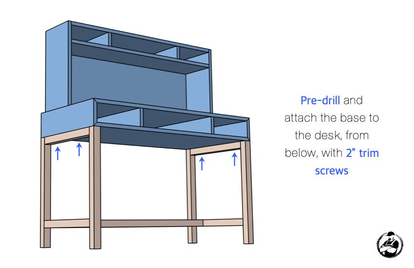 DIY Kids Desk with Hutch Plans Step 5