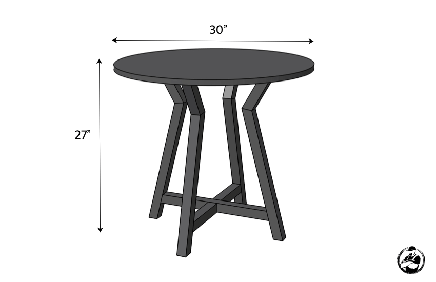Large Round DIY Side Table Plans Dimensions