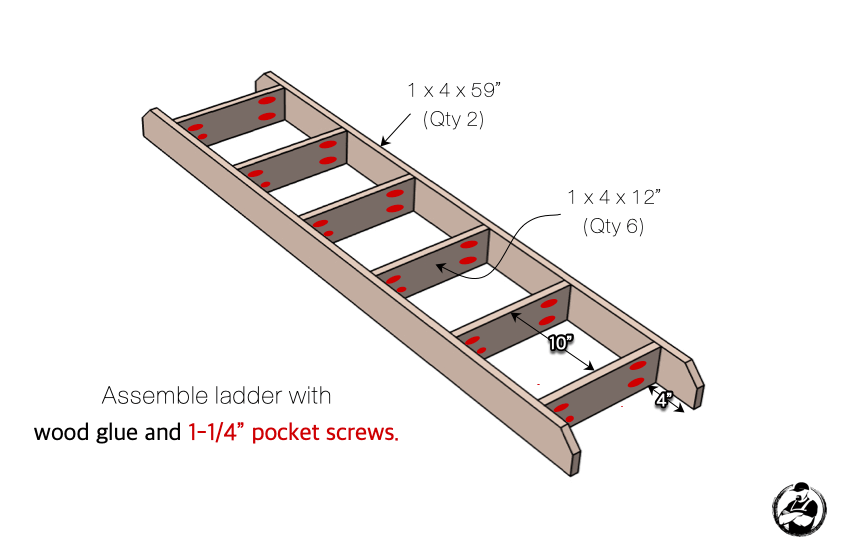 DIY Twin Loft Bed Plans Step 4