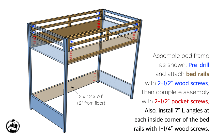 DIY Twin Loft Bed Plans Step 5