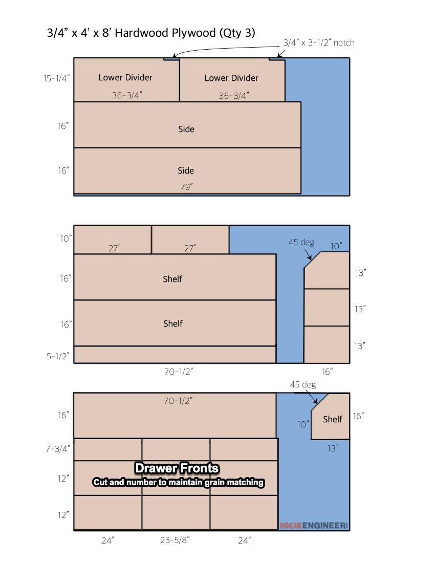 DIY Entertainment Console Plans Plywood Cut List