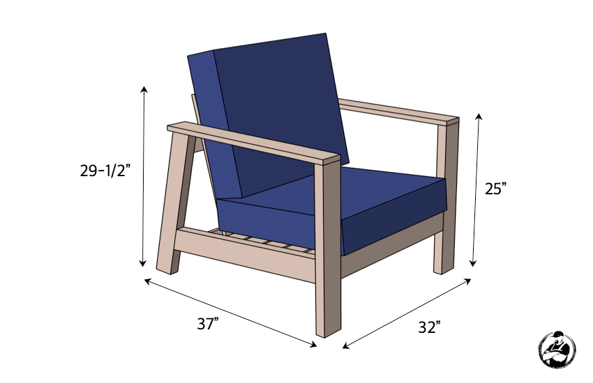 DIY Outdoor Club Chair Plans Dimensions