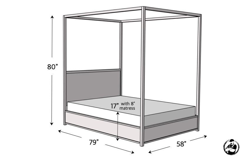 DIY Full Canopy Bed Plans Dimensions 1