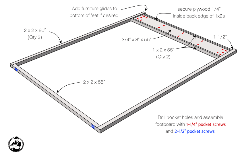 DIY Full Canopy Bed Plans Step 1