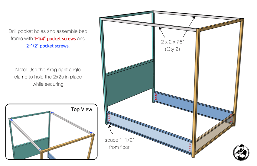 DIY Full Canopy Bed Plans Step 4