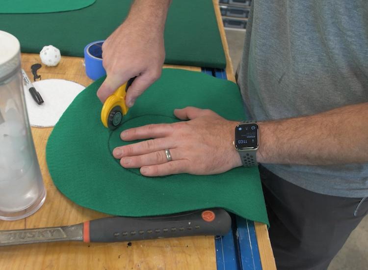 DIY Backyard Golf Game Cutting the hole