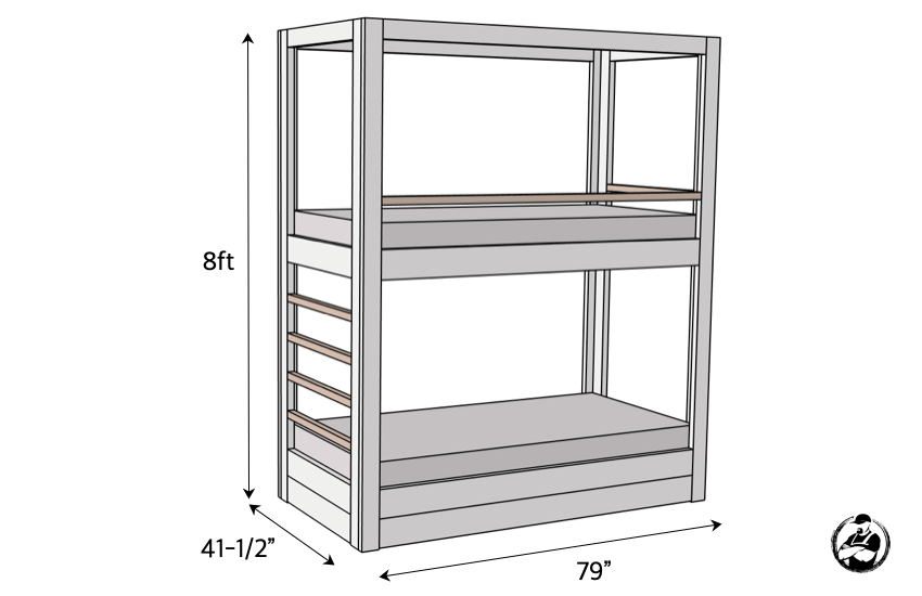DIY Built In Twin Bunk Bed Plans Dimensions
