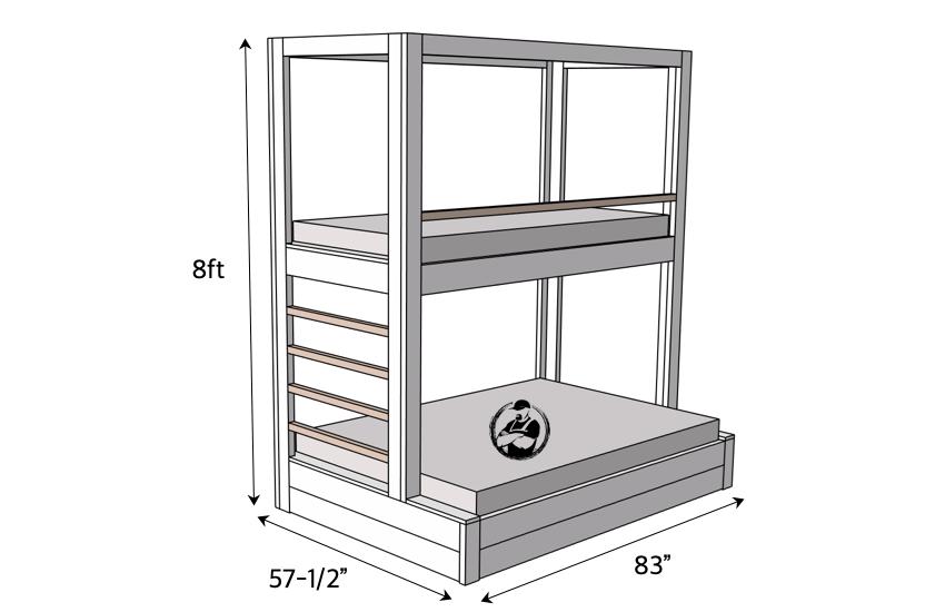DIY Buit In Bunk Bed Dimensions
