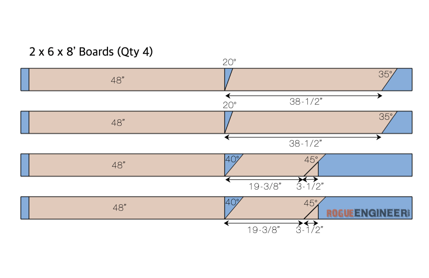 DIY 2x6 Outdoor Bench with Back Plans Cut List