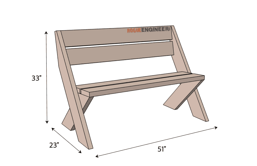 DIY 2x6 Outdoor Bench with Back Plans Dimensions