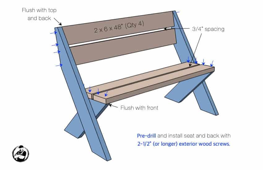 DIY 2x6 Outdoor Bench with Back Plans Step 3