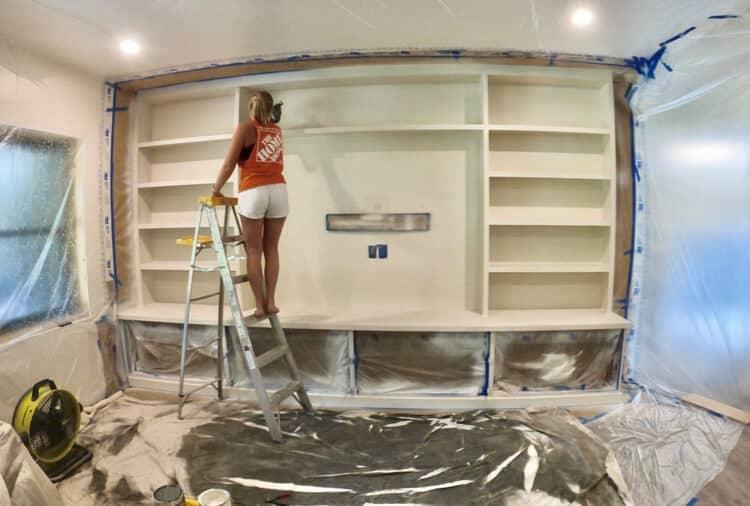 DIY Built In Entertainment Center Plans Finishing 5
