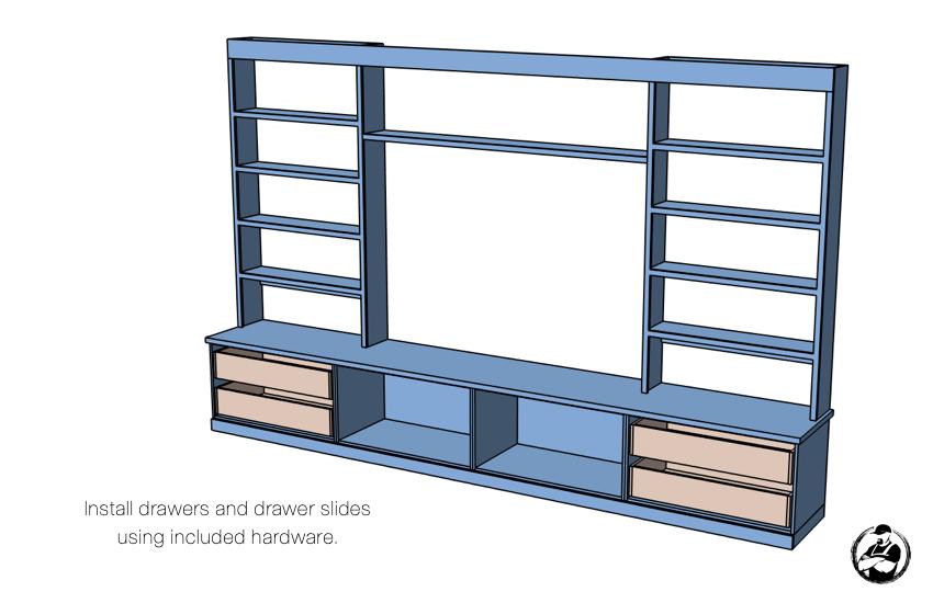 DIY Built In Media Center Plans Step 11